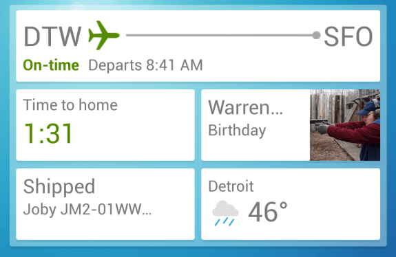Google Now brings information you need to your fingertips, when you need it.