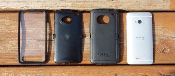 The multi-piece design of the OtterBox HTC One case adds to the protection.