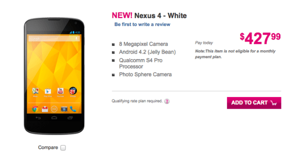 T-Mobile is offering the white Nexus 4 as well.