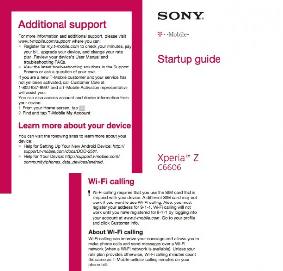 The Sony Xperia Z on T-Mobile carries the C6606 model number and supports LTE and WiFi calling.