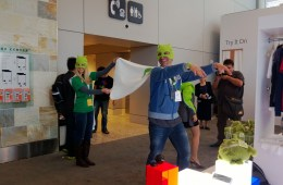 Google employees modeling Google gear at the Google pop-up store at Google I/O 2013