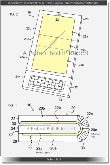 Another figure from the BlackBerry flexible phone prototype uncovered by PatentBold
