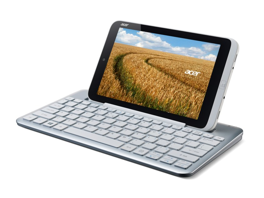 Acer Iconia W3 tablet keyboard left facing wheat
