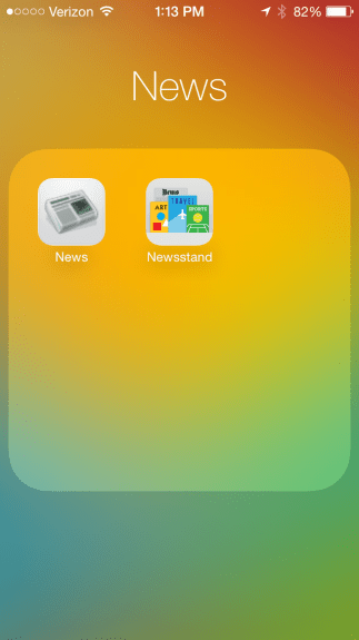 Newsstand can now be stored in folders.
