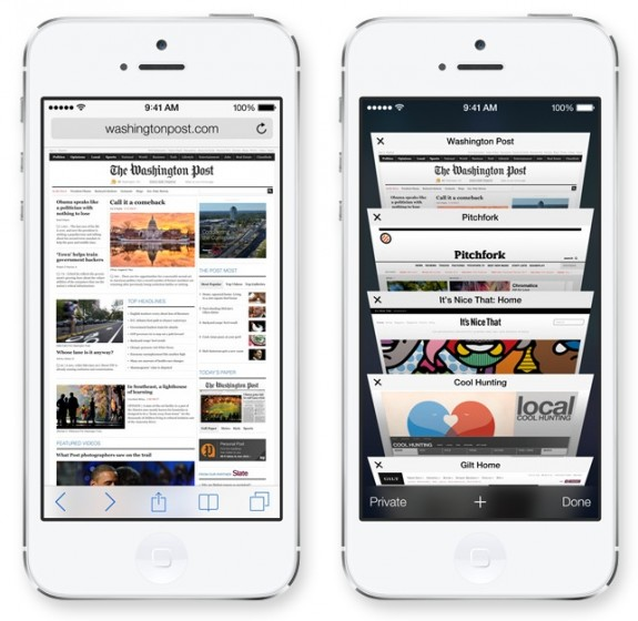 Safari in iOS 7 features a single bar and a new look.