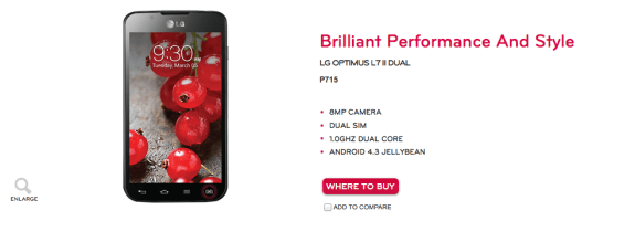 This LG smartphone apparently runs Android 4.3 Jelly Bean.