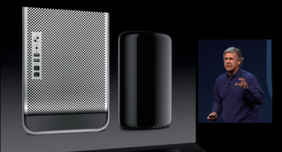 This is the new Mac Pro next to the old Mac Pro.