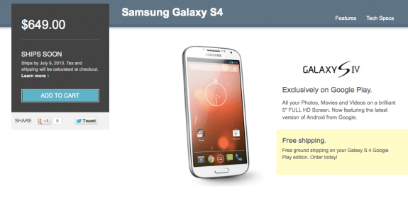 The Samsung Galaxy S4 Nexus is expensive.