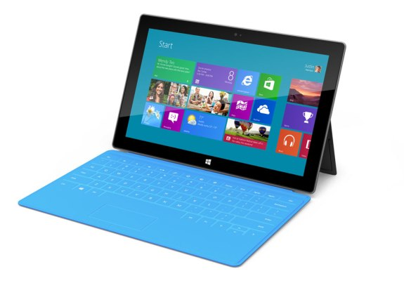 The Surface RT connected to a Touch Cover.