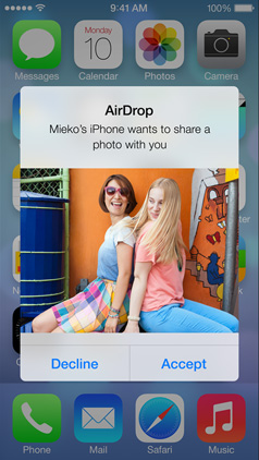 Share files wirelessly with iOS 7's Air Drop features.