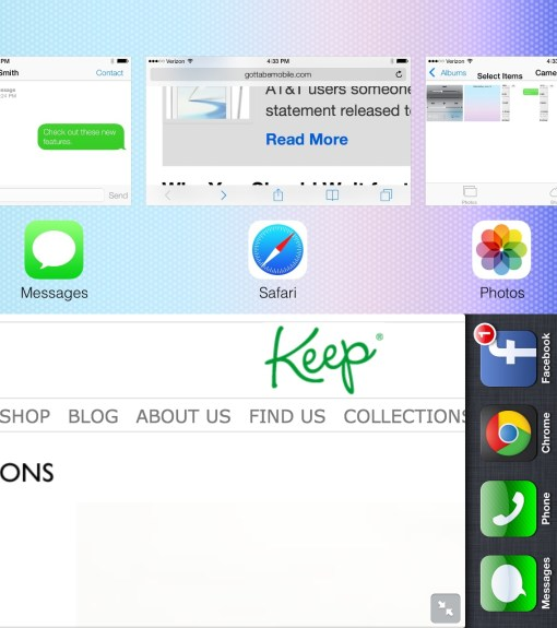 iOS 7 vs. iOS 6 Landscape Multitasking.