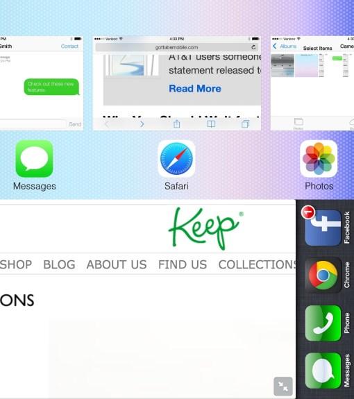 iOS 7 vs. iOS 6 Landscape Multitasking.