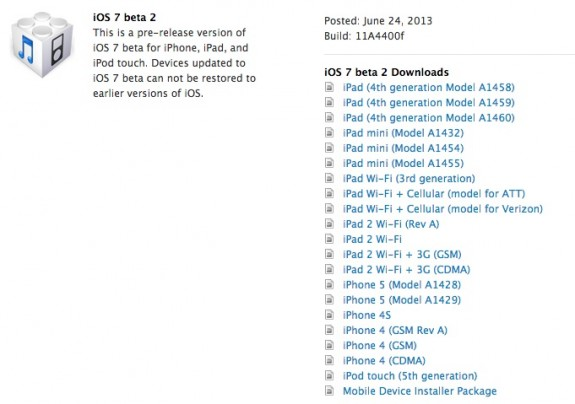 The iPad iOS 7 beta downloads are now available.