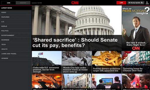 The CNN tablet app offers multi-column view for more information. Given the larger screen size, phablets could definitely benefit from the tablet UX.