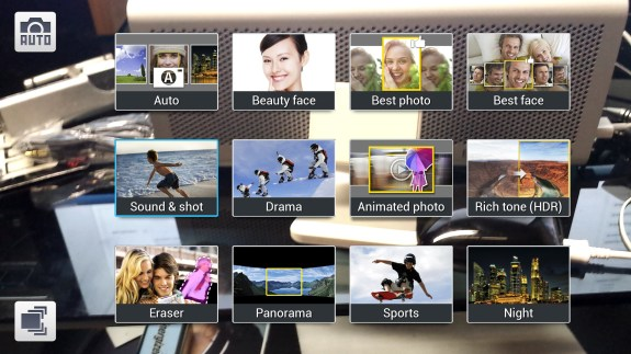 Samsung Galaxy S4 picture modes grid view