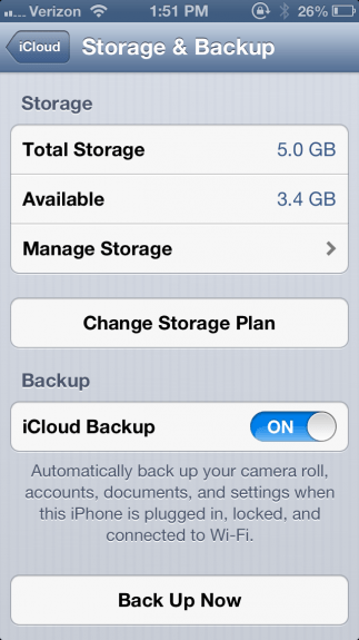 iPhone Storage and Backup