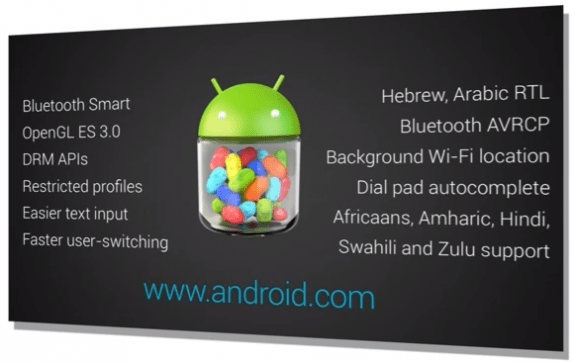 Android 4.3 is an incremental update to Android Jelly Bean.