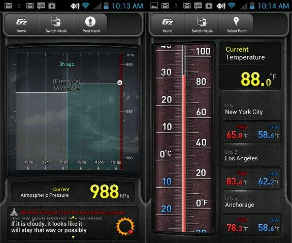 The G'zOne Commando 4G LTE includes a barometer and thermometer.The G'zOne Commando 4G LTE includes a barometer and thermometer.