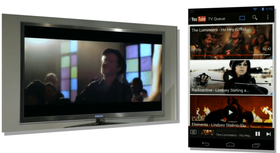 ChromeCast with YouTube on a big screen.