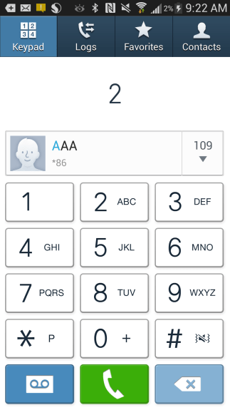 Example of dialer autocomplete.