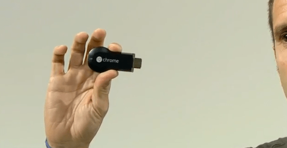 This is the Google ChromeCast, a small device that puts music, movies and apps on your HDTV.