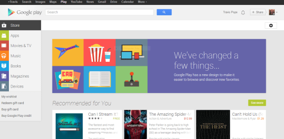 The newly redesigned Google Play Store for the web.