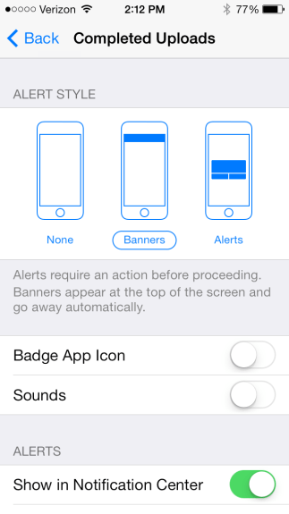New upload notification in the iOS 7 beta 4.