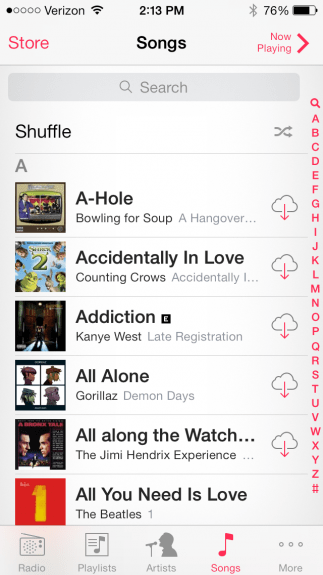 Shuffle all in the iOS 7 beta.