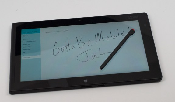 Users will enjoy taking notes on the ThinkPad Tablet 2.