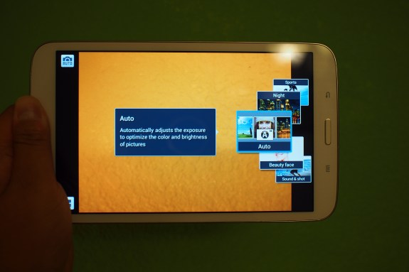 More modern camera UI adopted from the Galaxy S4 found on the Galaxy Tab 3 8.0