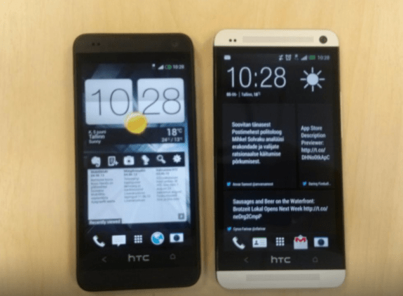 The HTC One Mini, left, next to the HTC One.