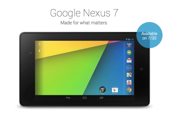 The old Nexus 7 is no longer available on Google Play.