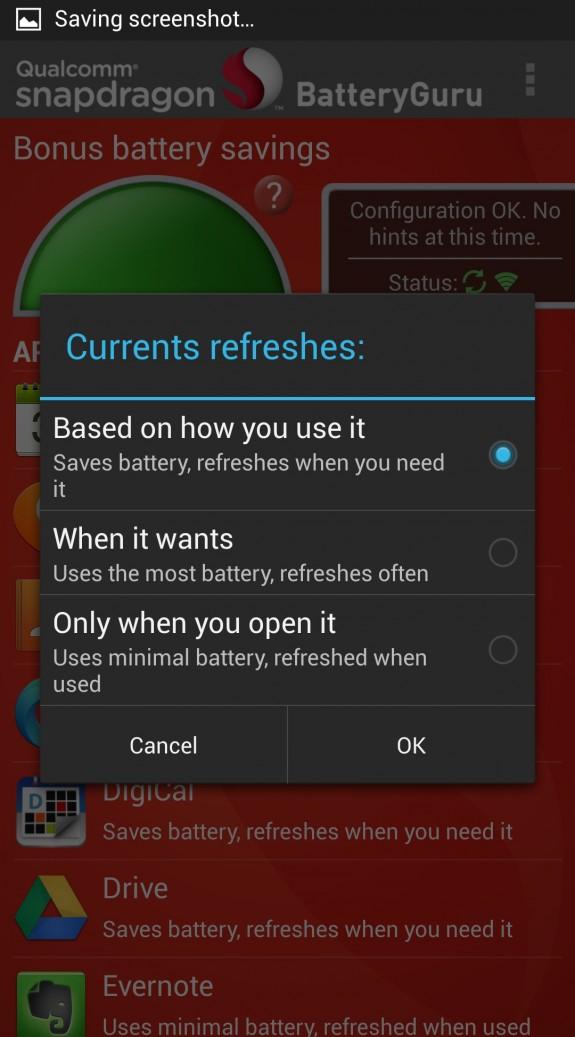 battery guru app options