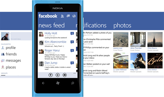 The old Facebook app for Windows Phone used the panoramic UI. Separate, panes were available to show various major elements of the Facebook service, including news feeds, notifications, poasts, and photos. Users could swipe across each pane to go through these categories. That UI has since been replaced.