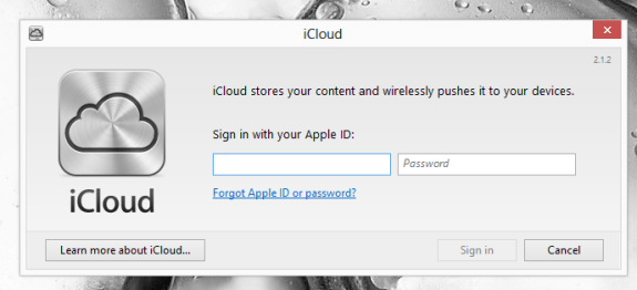 Sing into iCloud to set up Photo Stream on a Windows 8 PC.