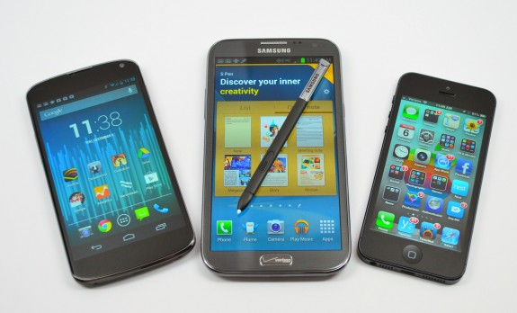 The Galaxy Note 3 will have a larger display than the Galaxy Note 2, seen here with the iPhone 5.