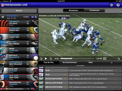 Watch the 2013 NFL preseason live on the iPad and Android.