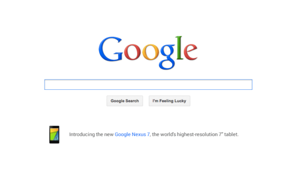 Google is promoting the Nexus 7 on its home page.
