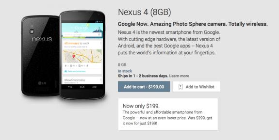 The Nexus 4 16GB is now $250.
