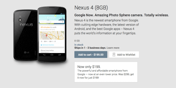 The Nexus 4 16GB is now $250.
