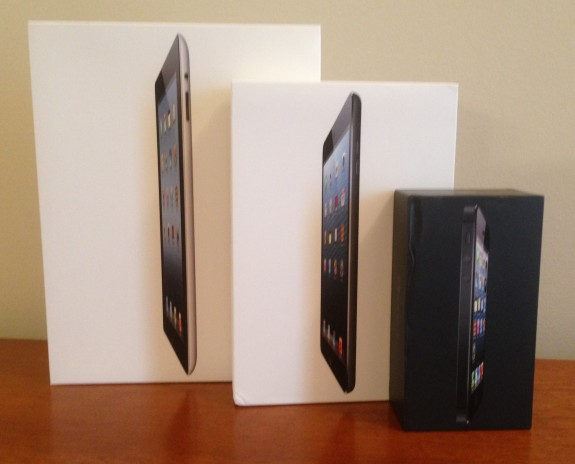 Front of iPhone and iPad boxes.