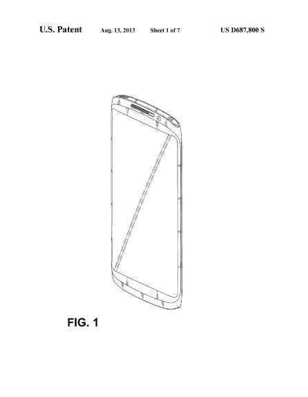 The patent filing shows what appears to be a new Samsung smartphone.