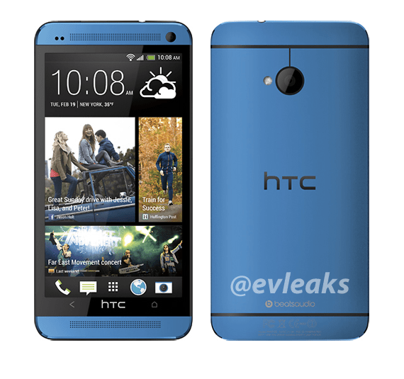 The blue HTC One, a device that is rumored for Verizon.