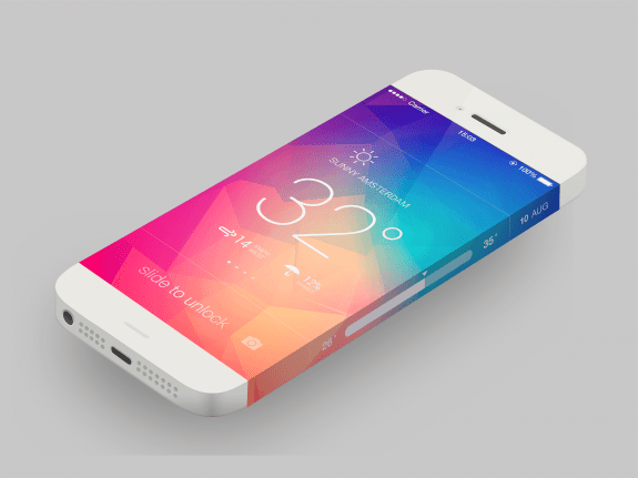 The edge of this iPhone 6 concept shows the date and other information.