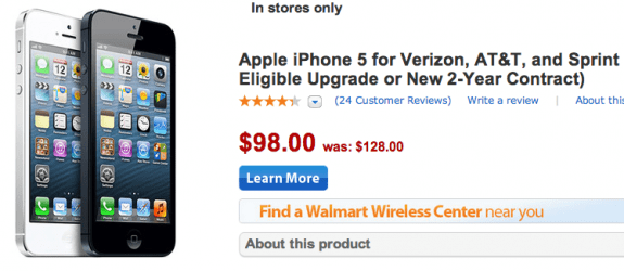 Walmart drops the price of the iPhone 5 to $98 ahead of the iPhone 5S release.