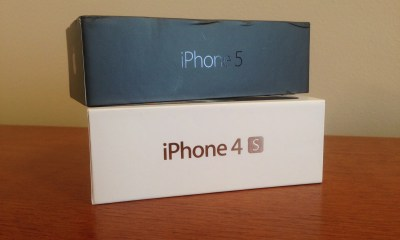 """Note the solid box around the """"S"""" on the iPhone 4S box."""