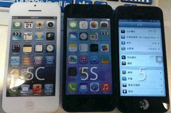 This photo appears to show off the iPhone 5C, iPhone 5S and the iPhone 5.