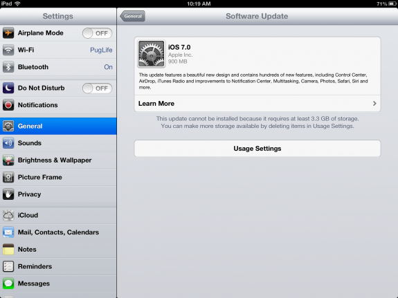 Users need to free 3.1GB to 3.3GB of storage space for the iOS 7 update.