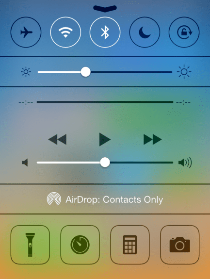 The new Control Center, accessible by swiping up from the bottom of the screen.