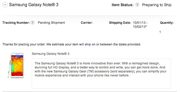 The AT&T Galaxy Note 3 in store release looks good for October 4th.